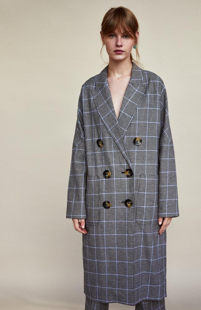 Checked double-breasted coat, $179.