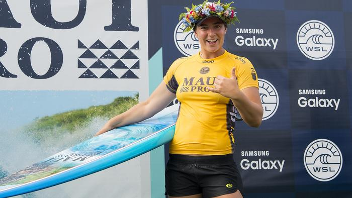 Tyler Wright winner of the Maui Pro during prizegiving at the Maui Pro.