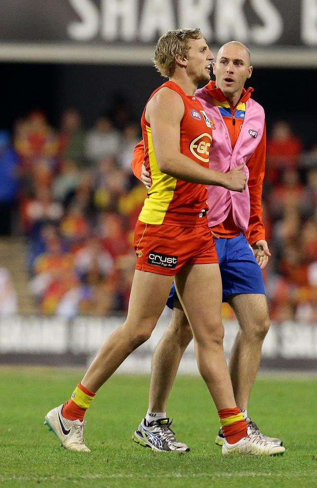 Trent McKenzie suffered a hamstring injury against Collingwood. Picture: Adam Head