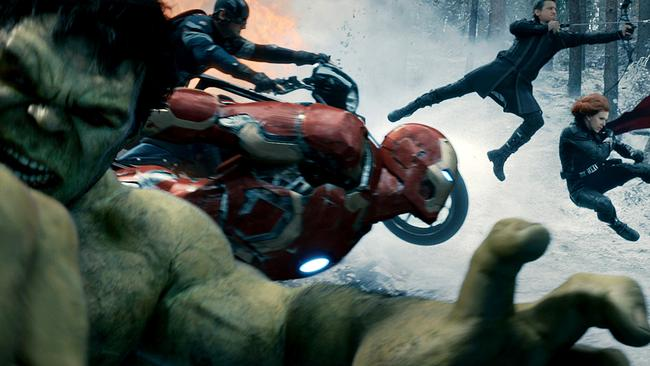 Mark Ruffalo plays the Hulk in The Avengers, pictured here with Captain America (Chris Evans), Hawkeye (Jeremy Renner), and Black Widow (Scarlett Johansson).