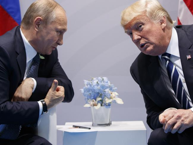President Donald Trump met with Russian President Vladimir Putin at the G20 Summit in Hamburg this year. Picture: AP