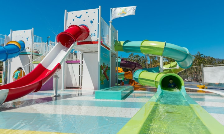 While your water babies enjoy the slides, parents can relax on nearby sun-lounges.