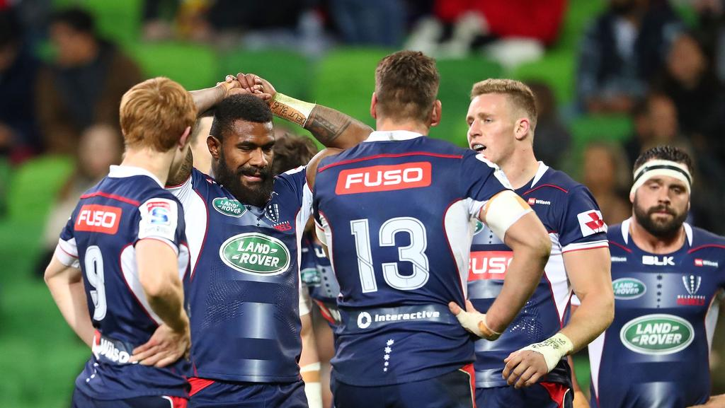 Marika Koroibete and the Rebels look dejected after conceding a try at AAMI Park.
