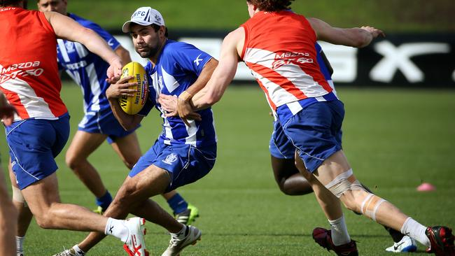 Kangaroos forward Lindsay Thomas weaves some magic at training. Picture: Colleen Petch