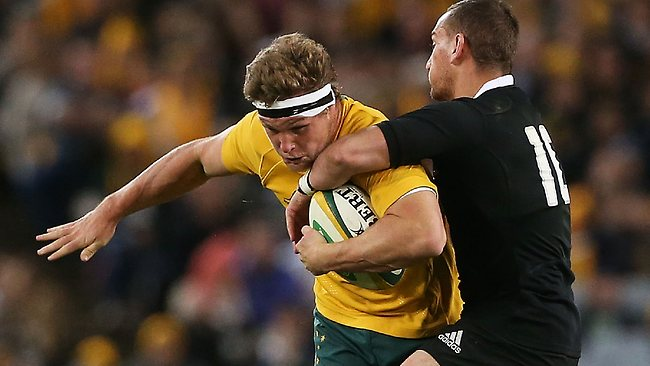 Michael Hooper on the charge for the Wallabies.