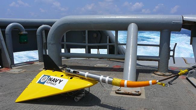 Vital technology... A US Navy Towed Pinger Locator which will be used to try and locate the downed black boxes from MH370. Picture: AFP