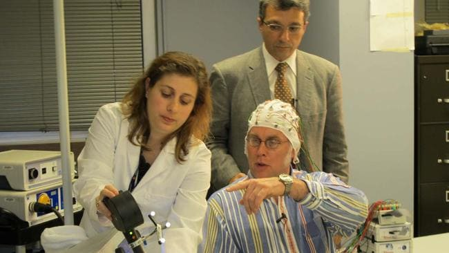 John Elder Robison with the Harvard scientists helping to rewire his brain.