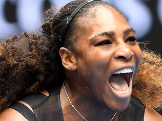 Serena Williams of the United States reacts before her win against Belinda Bencic during round 1 of the Womens Singles on day two of the Australian Open, in Melbourne, Australia, Tuesday, Jan. 17, 2017. (AAP Image/Julian Smith) NO ARCHIVING, EDITORIAL USE ONLY