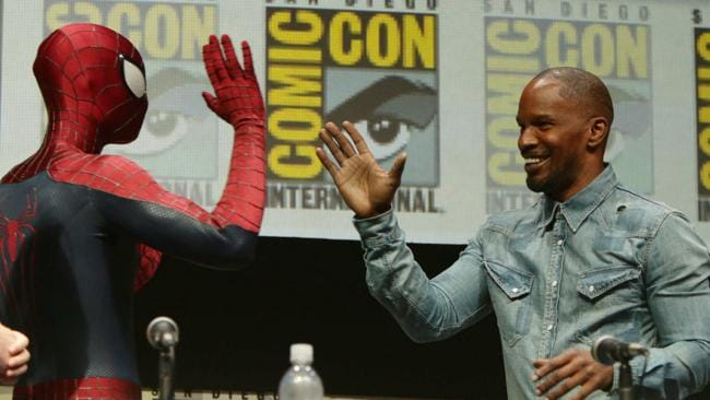 Spidey meets his The Amazing Spider-Man 2 foe Electro (Jamie Foxx) at Comic-Con 2013.