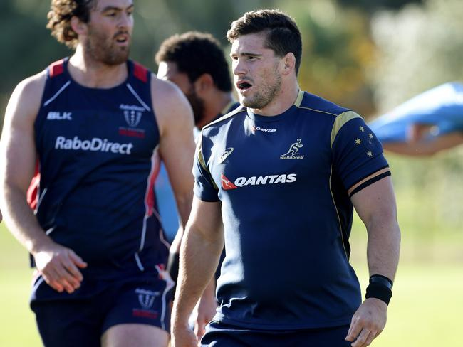 Nathan Charles training with the Wallabies earlier this month, he looks likely to make his starting debut this weekend. Picture: Adam Head