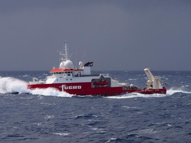 Fugro Discovery is on its way back to Fremantle after its sonar probe was torn off and lost during a collision with a mud volcano