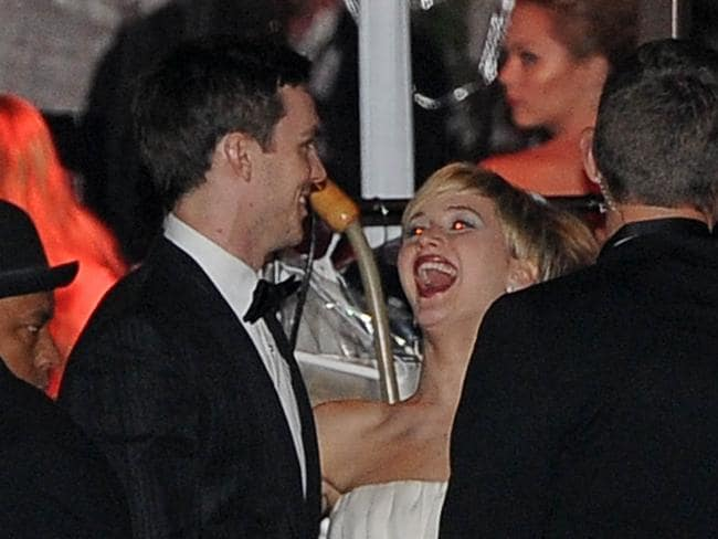 Nicholas Hoult and Jennifer Lawrence having a giggle earlier this year.