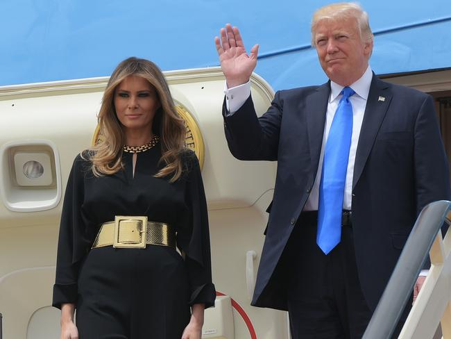 US President Donald Trump and First Lady Melania Trump step off Air Force One upon arrival at King Khalid International Airport in Riyadh. Picture: AFP