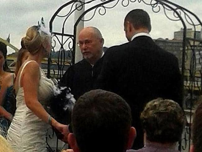 The big day ... Mark Williams and his bride Edyta before brawl broke out. Picture: Facebook