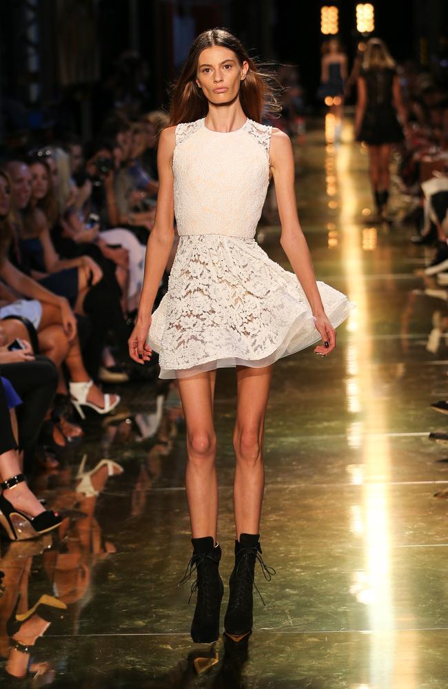 Former Australia's Next Top Model contestant Cassi Van Den Dungen at 2014 Mercedes-Benz Fashion Week Australia.