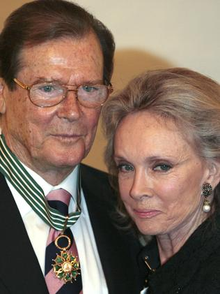 Roger Moore with his fourth wife Kristina Tholstrup. Picture: AFP