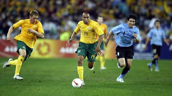 Archie Thompson in Australia's World Cup qualifier against Uruguay at Telstra Stadium in 2007. Picture: Mark Evans
