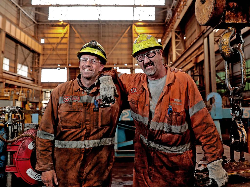 Fitter and Turners Ken Roesler, 38yrs, and Paul Monaghan, 51yrs, at the Caster Maintenance Services area of the Heavy Machine Shop at the Whyalla Steelworks. Ken's father worked at the Steelworks and he hopes that his 15-year-old son will follow in his footsteps to become the third generation steelworker in the family. Paul's dad uncle and grandfather all worked in the steel industry and he is proud to carry on in his family's footsteps. Picture: Dylan Coker