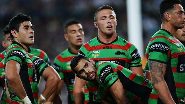 South Sydney players are devastated during their loss. Picture: Brett Costello