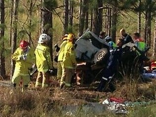 Emergency services freed a man from the wreckage after he had been trapped for almost three hours. Picture: Scott Purchase