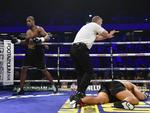 The referee makes his count on AJ Carter out after Daniel Dubois knocked him out at Copper Box Arena on September 16, 2017 in London, England. Picture: Leigh Dawney/Getty Images