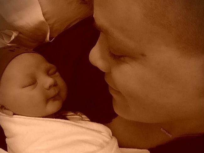 Pink shows off her new born baby boy Jameson Moon Hart, who was born on December 26. Picture: Pink
