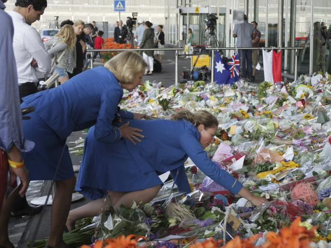 A sea of flowers at Schiphol Airport in Amsterdam, where MH17 took off.