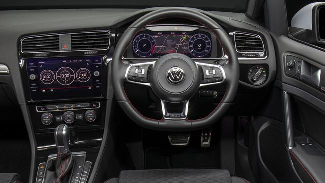 Updated GTI gets wider touchscreen. Digital instrument display is optional on GTI and standard on GTI-P and Golf R. Picture: Supplied.