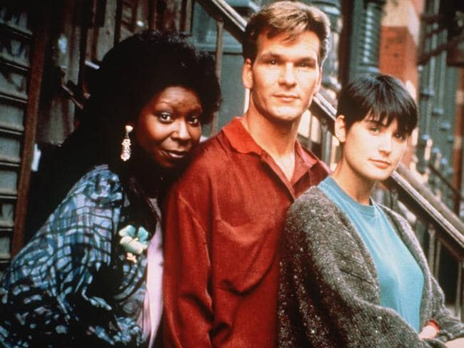 Spiritual ... Whoopi Goldberg, Patrick Swayze and Demi Moore in a scene from the film Ghost.