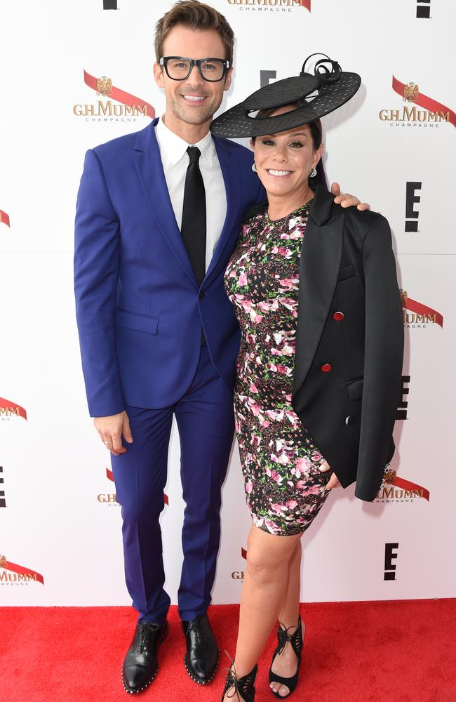Melissa Rivers and Brad Goreski in the Birdcage on Melbourne Cup Day at Flemington. Picture: AAP Image/Tracey Nearmy.