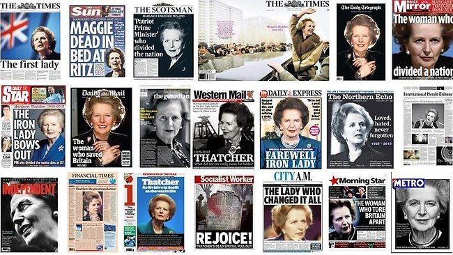 How the UK press reported Margaret Thatcher's death.