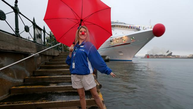 Dancer Nicole Conner and the cruise ship Carnival both donned red noses for charity.