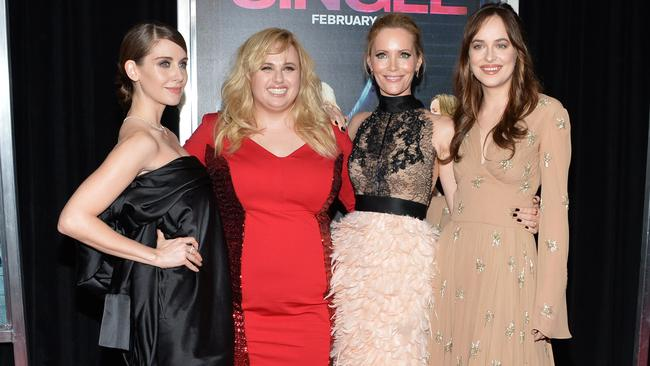 How to Be Single castmates, from left, Alison Brie, Wilson, Leslie Mann and Dakota Johnson at the New York premiere this month. Picture: Evan Agostini/Invision/AP