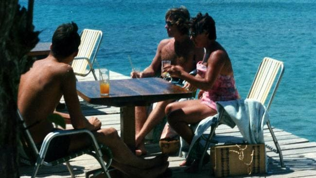 Princess Margaret (right) with Roddy Llewellyn on the party island of Mustique in 1975.
