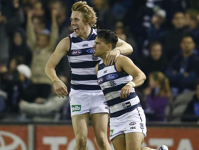 Allen Christensen celebrates the winning goal with Cameron Guthrie. Pic: Michael Klein.
