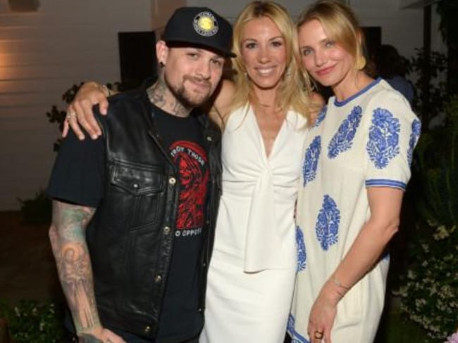 New love ... Musician Benji Madden, author Vicky Vlachonis, and actress Cameron Diaz celebrate the launch of The Body Doesn't Lie.