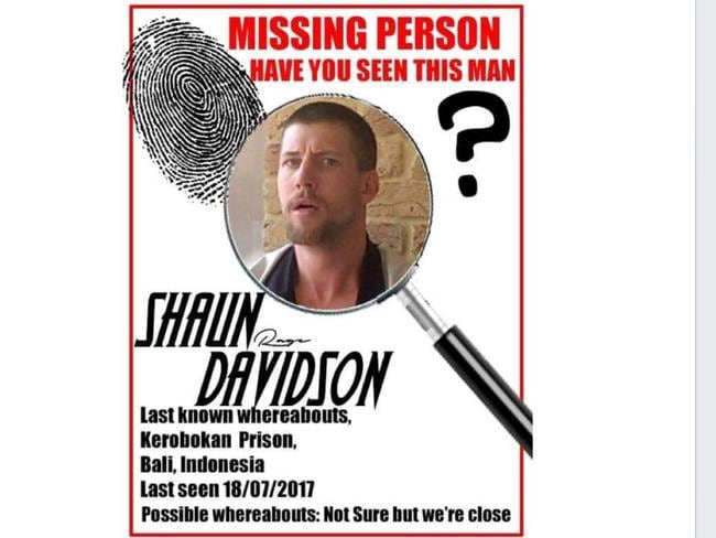 One of the many mock-up missing/wanted posters that have appeared on Facebook pages purportedly belonging to Davidson.