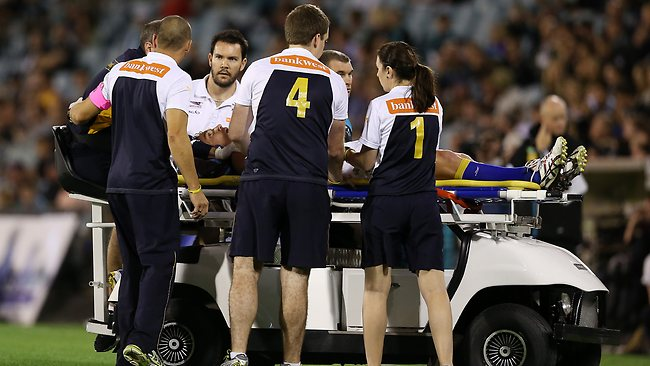Matt Priddis after being concussed. Picture: Sarah Reed