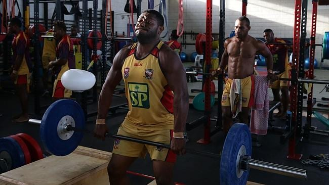 "Brandy Peter and the team from the Papua New Guinea ""Hunters"" trains at Bomana as they are only 2 weeks away from playing their first game in the Queensland Cup. Pics Adam Head"