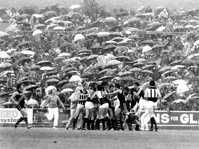 And finally ... a good old-fashion punch-up (in the rain) during the Port Adelaide-Glenelg semi-final match in 1977.