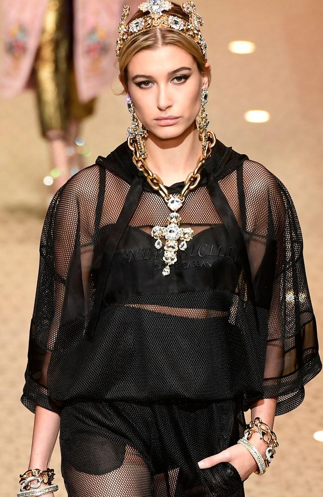 She's not a drone! Hailey Baldwin also modelled for D&G. Picture: AFP