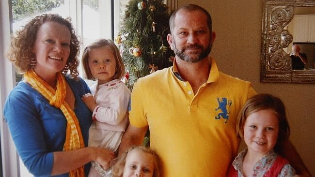 Mandy with husband Rod and children Tess 4, Isobel, 7, and Samantha, 9.