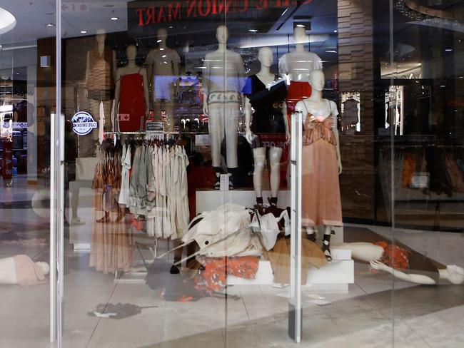 Members of the Economic Freedom Fighters (EFF) opposition party stormed a store in Johannesburg in protest of an alleged racist slogan on a hoodie. Picture: AFP