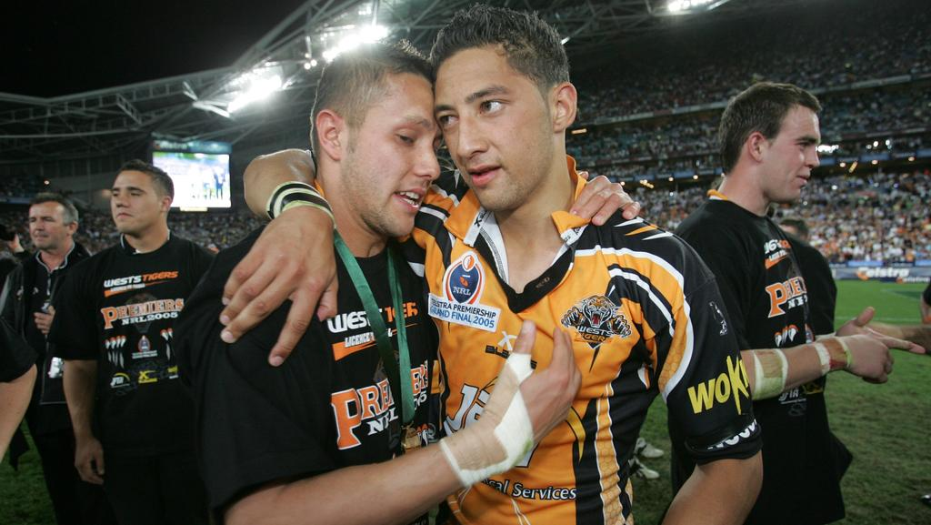 Scott Prince and Benji Marshall (R) celebrate victory in the 2005 grand final