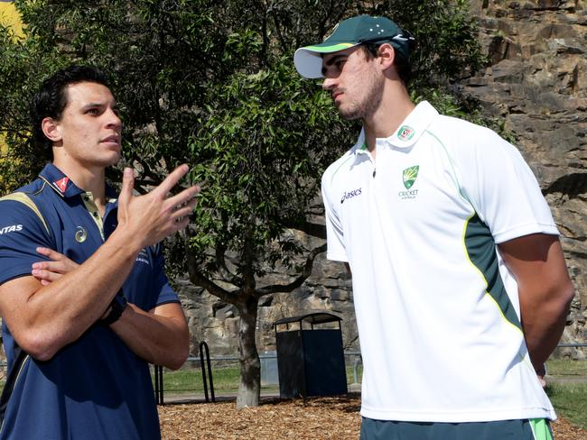 Mitchell Starc (R) is keen to force his way back into the Test reckoning. Picture: Darren England.