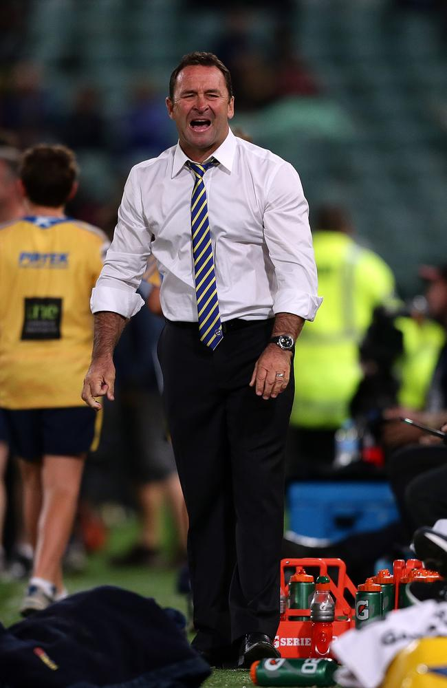 Former Eels coach Ricky Stuart screams at the refs calling another penalty.