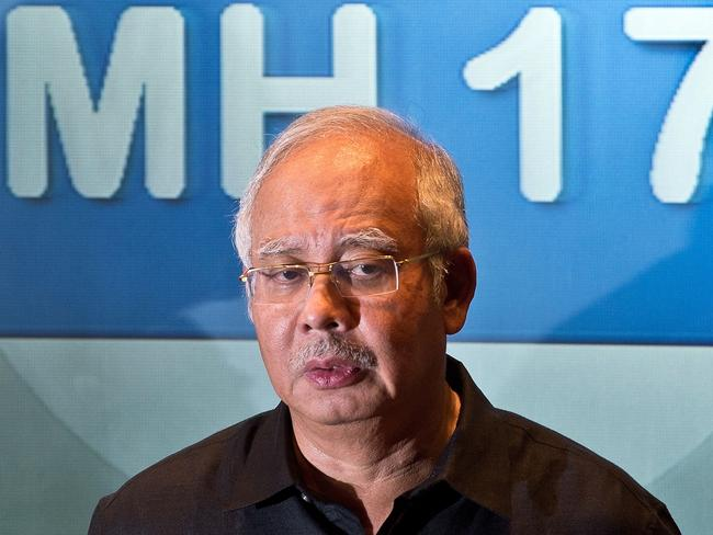 Personal tragedy ... Malaysia's Prime Minister Najib Razak addresses a press conference on Malaysia Airlines flight MH17. Pic: MANAN VATSYAYANA