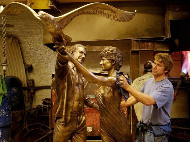 The Innocent Victims bronze statue of Diana, Princess of Wales and Dodi Al Fayed, was installed in Harrods in 2005. Picture: Supplied