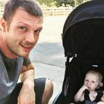 """Nick Carter with his son Odin, """"Trying to get back into bo yband shape with my little buddy for our next Backstreet Boys album and tour. Pushing a stroller is crazy cardio lol."""" Picture: Instagram"""