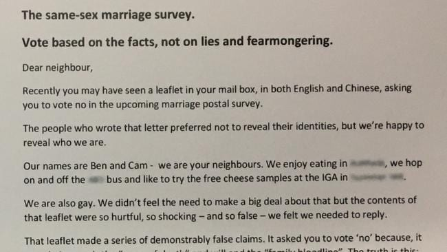 Part of the letter we sent to our neighbours.